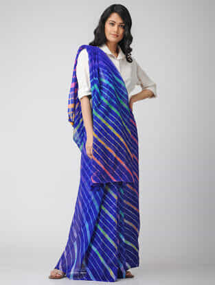 Blue-Green Leheriya Chiffon Saree