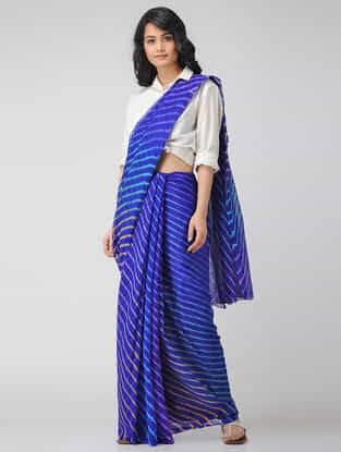 Blue-Ivory Leheriya Chiffon Saree
