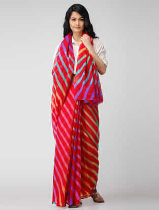 Red-Blue Leheriya Chiffon Saree