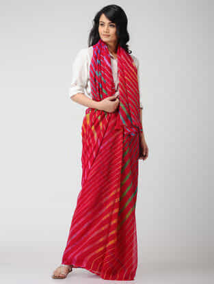 Red-Green Leheriya Chiffon Saree