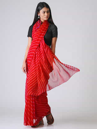 Red-Ivory Leheriya Chiffon Saree