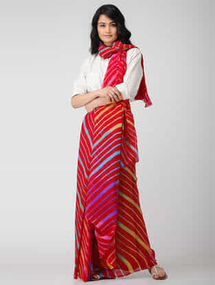 Red-Yellow Leheriya Chiffon Saree