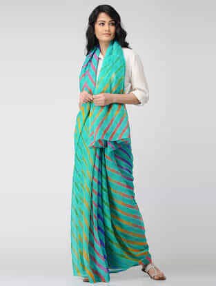 Green-Yellow Leheriya Chiffon Saree
