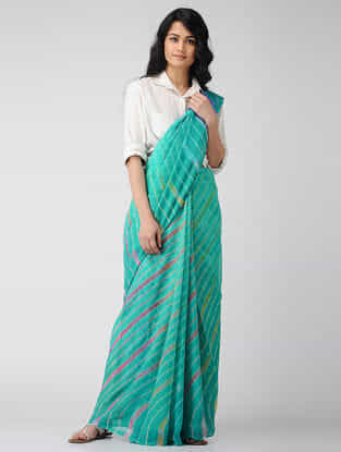 Green-Purple Leheriya Chiffon Saree