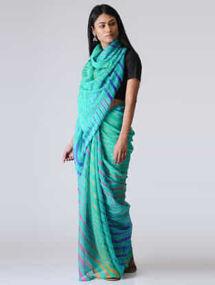 Green-Blue Leheriya Chiffon Saree