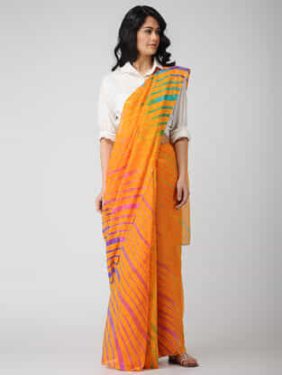 Yellow-Pink Leheriya Chiffon Saree