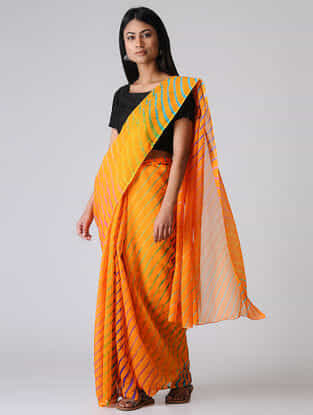Yellow-Green Leheriya Chiffon Saree