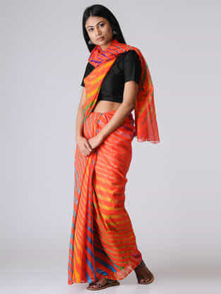 Orange-Yellow Leheriya Chiffon Saree