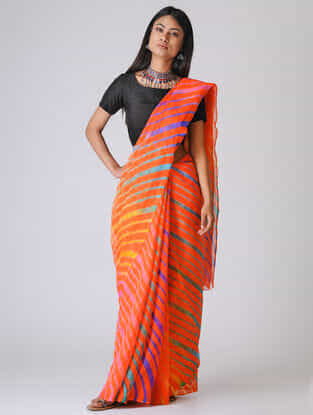 Orange-Blue Leheriya Chiffon Saree