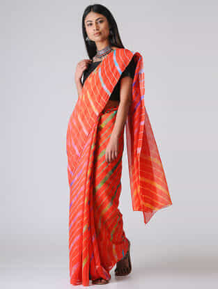 Orange-Green Leheriya Chiffon Saree