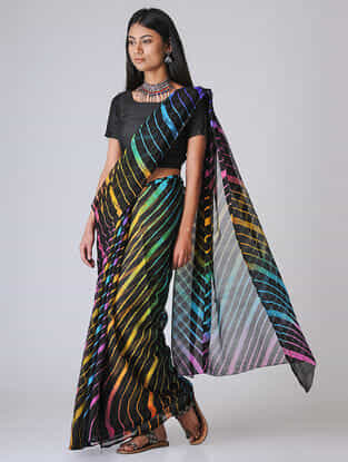 Black-Yellow Leheriya Chiffon Saree