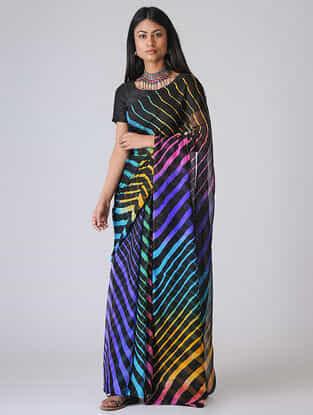 Black-Blue Leheriya Chiffon Saree