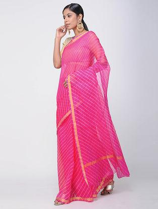 Pink-Ivory Leheriya Kota Silk Saree with Zari Border