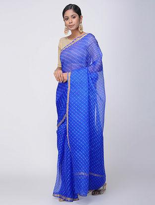 Blue-Ivory Leheriya Kota Silk Saree with Zari Border