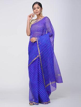 Blue Leheriya Kota Silk Saree with Zari Border