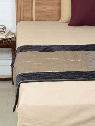 Black-Gold Butta Printed Silk Cotton Bed Runner by Bandhini Home 90in x 30in