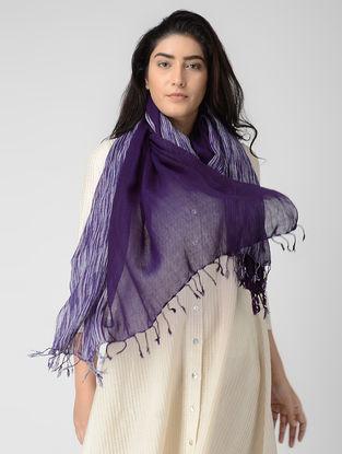Purple-Ivory Wool Stole