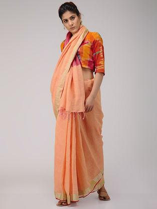 Peach-Pink Linen Saree with Zari Border