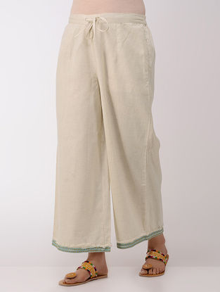 Ivory Tie-up Elasticated Waist Cotton Pants With Hand-embroidered Hem