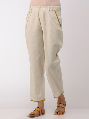 Ivory Cotton Pants With Hand-embroidered Hem and Pockets