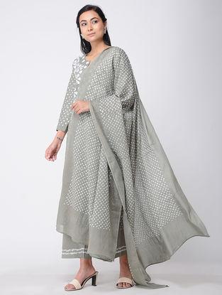 Grey Bandhani Cotton Kurta with Pants and Dupatta (Set of 2)