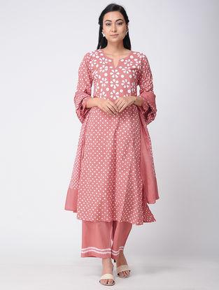 Peach Bandhani Cotton Kurta with Pants and Dupatta (Set of 2)