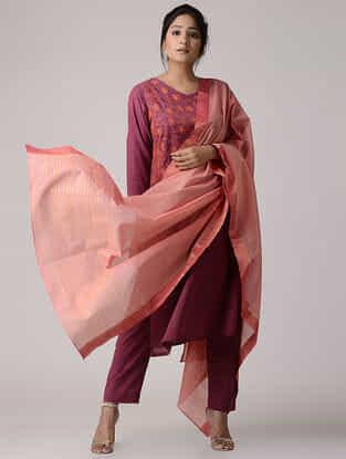 Pink Mangalgiri Cotton Dupatta with Zari Border