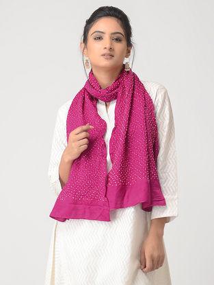 Pink-White Bandhani Silk Stole