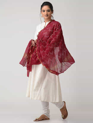 Red-White Bandhani Georgette Dupatta with Zari Border