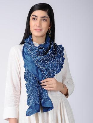 Blue-Ivory Bandhani Silk Stole