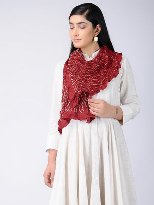 Red-Ivory Bandhani Silk Stole