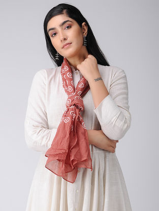 Coral-Ivory Bandhani Cotton Stole