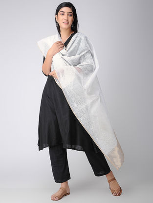 Ivory Aari-embroidered Cotton Silk Dupatta with Zari