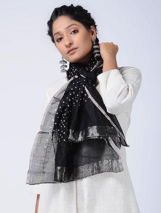 Black-Ivory Bandhani Cotton Silk Stole with Zari