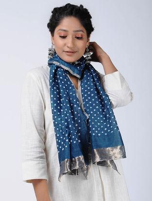 Blue-Ivory Bandhani Cotton Silk Stole with Zari