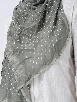 Grey-Ivory Bandhani Cotton Silk Stole with Zari
