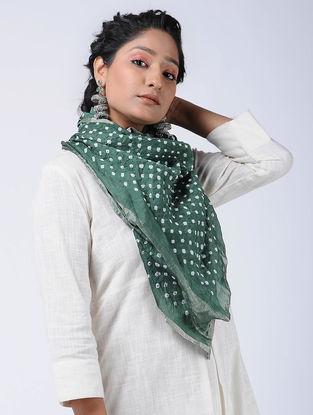 Green-Ivory Bandhani Cotton Silk Stole with Zari