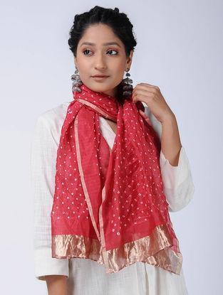 Red-Ivory Bandhani Cotton Silk Stole with Zari