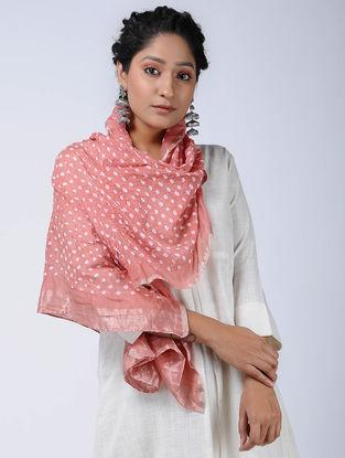 Peach-Ivory Bandhani Cotton Silk Stole with Zari
