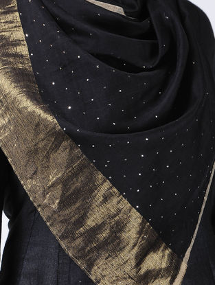 Black-Ivory Mukaish Cotton Silk Stole with Zari