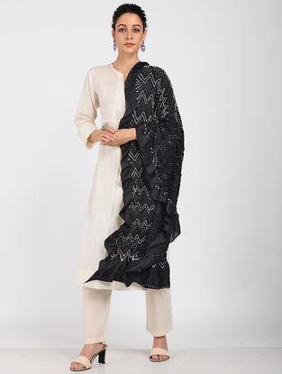 Black-Ivory Bandhani Silk Dupatta