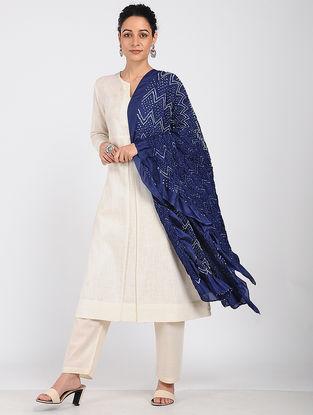 Blue-Ivory Bandhani Silk Dupatta