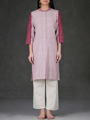 Madder-White Mandarin Collar Button-Down Cotton Kurta