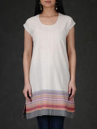 Ivory-Grey Striped Round Neck Cotton Kurta