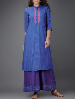 Blue Embroidered Mandarin Collar Striped Cotton Kurta