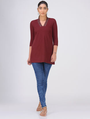 Maroon Sequined Knitted Cotton Tunic