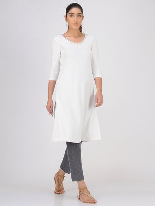 Ivory Sequined Knitted Cotton Kurta