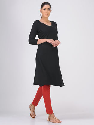 Black Sequined Knitted Cotton Kurta