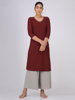 Maroon Sequined Knitted Cotton Kurta