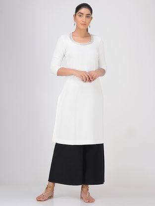 Ivory Sequined Round Neck Knitted Cotton Kurta